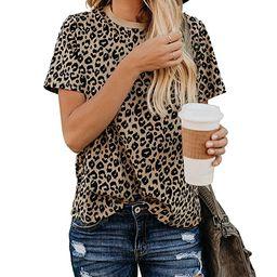 BMJL Women's Casual Cute Shirts Leopard Print Tops Basic Short Sleeve Soft Blouse | Amazon (US)