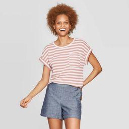 Women's Striped Regular Fit Short Sleeve Crewneck Linen Cuff T-Shirt - A New day™   Target