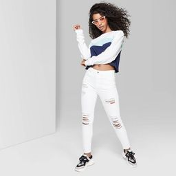 Women's High-Rise Destructed Skinny Jeans - Wild Fable™ White   Target