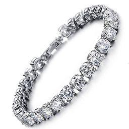 MEETYOO Tennis Bracelet Crystal Jewelry Lady Valentines Gift Zirconia Platinum Plated Bangle | Amazon (US)