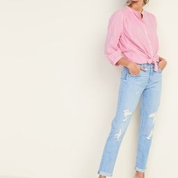 Mid-Rise Distressed Boyfriend Straight Jeans for Women | Old Navy US