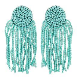 Turquoise Beaded Fringe Earrings - Panacea Jewelry   Panacea