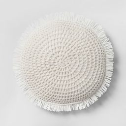 Round Knit With Fringe Throw Pillow - Opalhouse™   Target