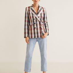 Structured linen checked blazer   MANGO (US)