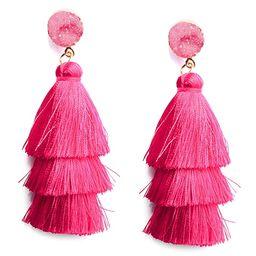 Colorful Layered Tassel Earrings Bohemian Dangle Drop Tiered Tassel Druzy Stud Earrings Women Gifts | Amazon (US)