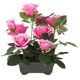 """10"""" Black Potted Artificial Pink Rose Flowers 