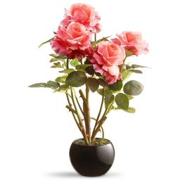 """16.5"""" Black Round Potted Artificial Pink Rose Flowers 