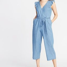 Chambray Faux-Wrap Tie-Belt Jumpsuit for Women | Old Navy US
