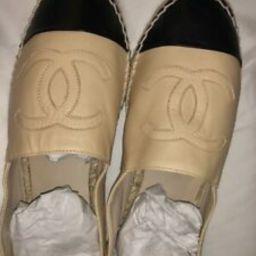 Details about  Mint Authentic Chanel Espadrilles Flats Beige/Black Leather Shoes Size 39   eBay US