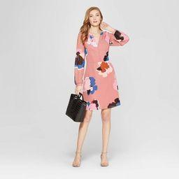 Women's Floral Print Long Sleeve Chiffon Dress - A New Day™ Dark Pink | Target