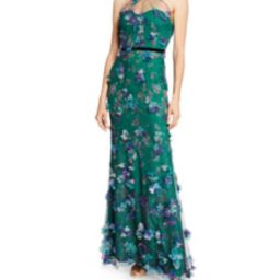 Printed Tulle Illusion Halter Gown with 3D Flower Degrade | Bergdorf Goodman