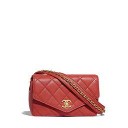 Calfskin & Gold-Tone Metal Red Waist Bag   CHANEL   Chanel, Inc.