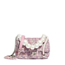 Tweed, Imitation Pearls & Gold-Tone Metal Pink, Beige, Orange & Ecru Flap Bag   CHANEL   Chanel, Inc.