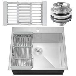 "Firebird 25"" x 22"" x 9"" 18 Gauge Handmade Stainless Steel Topmount Drop-In Single Bowl Kitchen Si... | Amazon (US)"