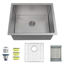 MENSARJOR 23'' x 18'' Single Bowl Kitchen Sink 16 Gauge Undermount Stainless Steel Kitchen Sink, ... | Amazon (US)