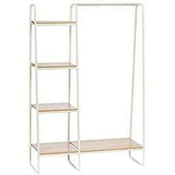 IRIS Metal Garment Rack with Wood Shelves, White and Light Brown | Amazon (US)
