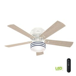 Cedar Key 52 in. Indoor/Outdoor Fresh White Low Profile Ceiling Fan with Light Kit and Handheld R... | The Home Depot
