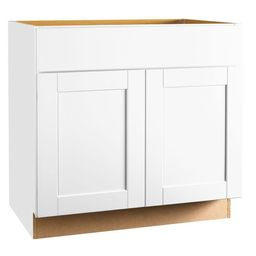 Shaker Assembled 36x34.5x24 in. Sink Base Kitchen Cabinet in Satin White | The Home Depot
