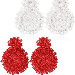 2pairs Statement Beaded Drop Earrings for Women Bohemian Dangle Round Earrings Handmade Fashion E... | Amazon (US)