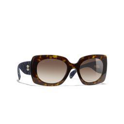 Rectangle Sunglasses  Dark Tortoise & Dark Blue  eyewear | CHANEL | Chanel, Inc.