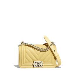 Grained Calfskin & Gold-Tone Metal Yellow Small BOY CHANEL Handbag | CHANEL | Chanel, Inc.