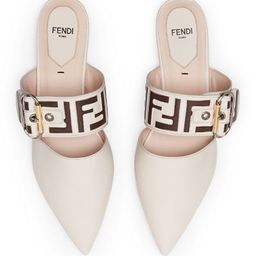 Leather Mules with FF Strap | Bergdorf Goodman