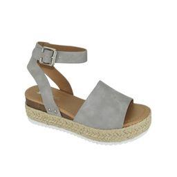 Soda Women Wedge Sandals Open Toe Ankle Strap Flatform Espadrilles Trim Platform TOPIC-S Gray 8 | Walmart (US)