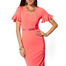 Ruffled-Sleeve Belted Sheath Dress - Magic Crepe   New York & Company