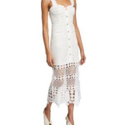 Fishnet Crochet Lace Midi Dress | Bergdorf Goodman