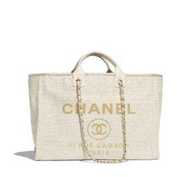 Cotton, Nylon, Lurex, Calfskin & Gold-Tone Metal Ivory Large Shopping Bag | CHANEL | Chanel, Inc.