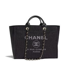 Cotton, Nylon, Calfskin & Gold-Tone Metal Black Shopping Bag   CHANEL   Chanel, Inc.