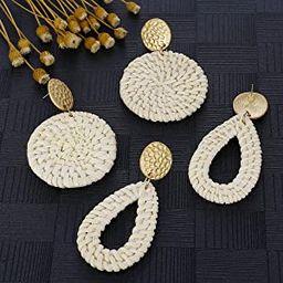 Rattan Earrings for Women Lightweight Geometric Statement Earrings Handmade Straw Wicker Braid Rh... | Amazon (US)