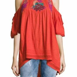 Details about  NEW Free People Fast Times Embroidered Cold Shoulder Top Red Size XS or L $128 | eBay US