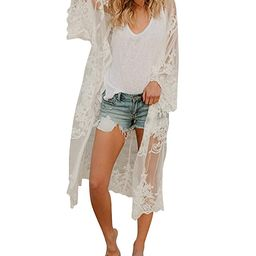 Women's Bathing Suit Kimono Beach Cover Up Lace Crochet Pool Swimwear   Amazon (US)