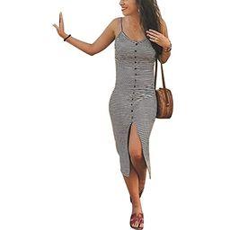 Women's Spaghetti Strap Dress - Sexy V NeckButton Front Split Stripe Midi Dresses | Amazon (US)