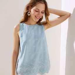 Embroidered Chambray Button Back Shell   LOFT