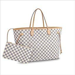 Neverfull Style Canvas Woman Organizer Handbag Azur Tote Shoulder Fashion Bag GM Size by LAMB | Amazon (US)