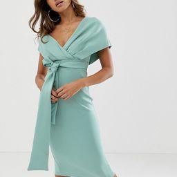 ASOS DESIGN fallen shoulder midi pencil dress with tie detail | ASOS US