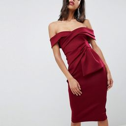 ASOS DESIGN Bardot Fold Wrap Front Midi Pencil Dress | ASOS US