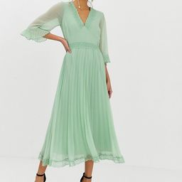 ASOS DESIGN pleated midi dress with lace inserts | ASOS US