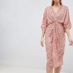 ASOS DESIGN scatter sequin knot front kimono midi dress | ASOS US