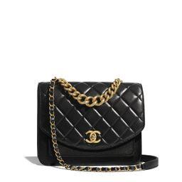 Calfskin, Aged Calfskin & Gold-Tone Metal Black Flap Bag   CHANEL   Chanel, Inc.