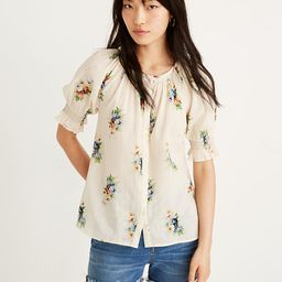 Smocked Button-Down Top in Classic Corsage | Madewell
