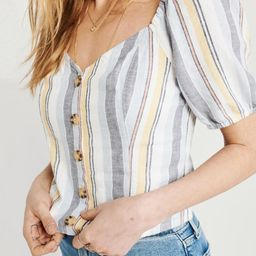 Button-Up Puff Sleeve Top | Abercrombie & Fitch US & UK