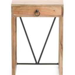 One Drawer Acacia Wood Side Table | TJ Maxx