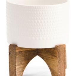 Ceramic Planter On Wood Stand | TJ Maxx