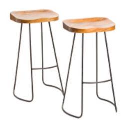 Set Of 2 Mango Wood Barstools | TJ Maxx