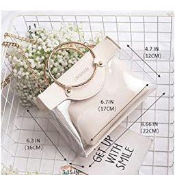 Clear Handbag 2 in 1 Clear Tote Transparent Top Ring Handle Handbag Small Chain Shoulder Bag, Whi... | Amazon (US)
