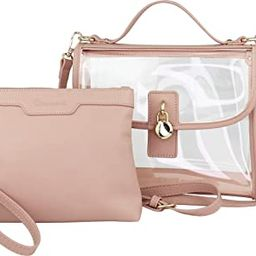 Clear Top Handle Satchel Crossbody Bag with Removable Wristlet Pouch (Stadium Policy-Compliant Bag) | Amazon (US)