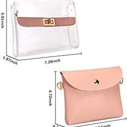 Womens Small Crossbody Clear Handbag Lock Chain Shoulder Purse | Amazon (US)